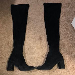 Jeffrey Campbell Over the Knee black suede boots
